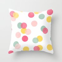 confetti Throw Pillows featuring confetti by her art