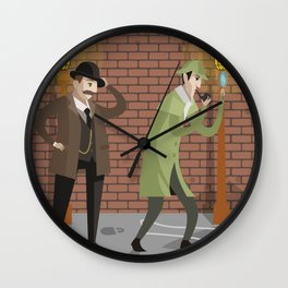 great detective and sidekick in crime alley Wall Clock