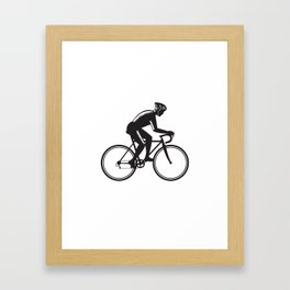 Road Cyclist Racing Woodcut Framed Art Print