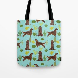 Irish Setter cactus southwest desert dog breed cute gift for dog lover pupper portrait pattern gifts Tote Bag