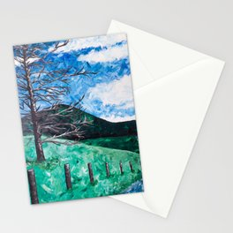 Lonely Tree in the Blue Ridge Mountains - Abstract Acrylic painting Stationery Cards
