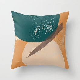 Rooted 7 Mid-Century Monoprint Throw Pillow