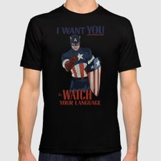 I want you to watch your language Mens Fitted Tee LARGE Black