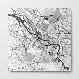Bremen Map Gray Metal Print