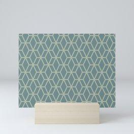 Soft Aqua Blue Green Tessellation Line Pattern 16 2021 Color of the Year Aegean Teal Salisbury Green Mini Art Print