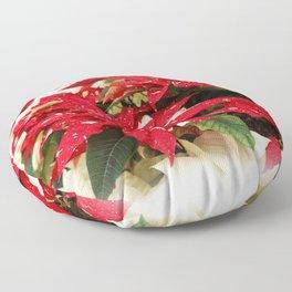 Shimmer Surprise Poinsettias Floor Pillow