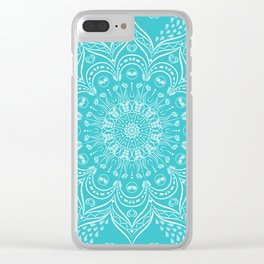 Teal mandala Clear iPhone Case