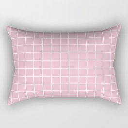 Cameo pink - pink color - White Lines Grid Pattern Rectangular Pillow