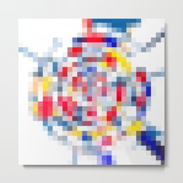 geometric square pattern pixel abstract in yellow blue red Metal Print
