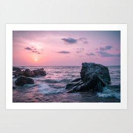 Ocean landscape at sunset Art Print