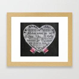 I Love You Chalk Heart Framed Art Print