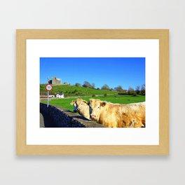 castle cows Framed Art Print