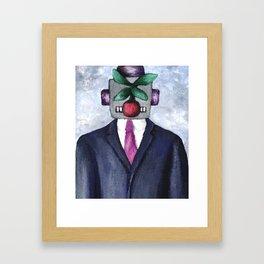 Robot with Apple Framed Art Print