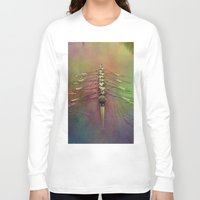 rowing Long Sleeve T-shirts featuring Rowing the Rainbow River by benzos