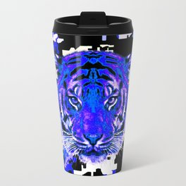 camouflage tiger on blue Travel Mug