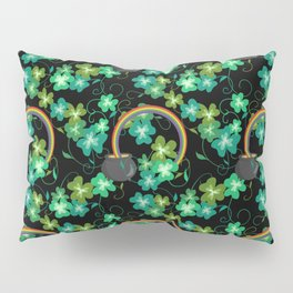 Irish Shamrocks and Gold at the end of the rainbow Pillow Sham