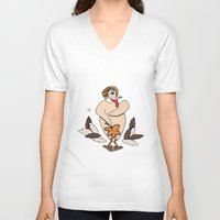 turkey V-neck T-shirts featuring Sexy Turkey by Yatasi