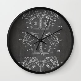 Football Pads Patent - American Football Art - Black Chalkboard Wall Clock
