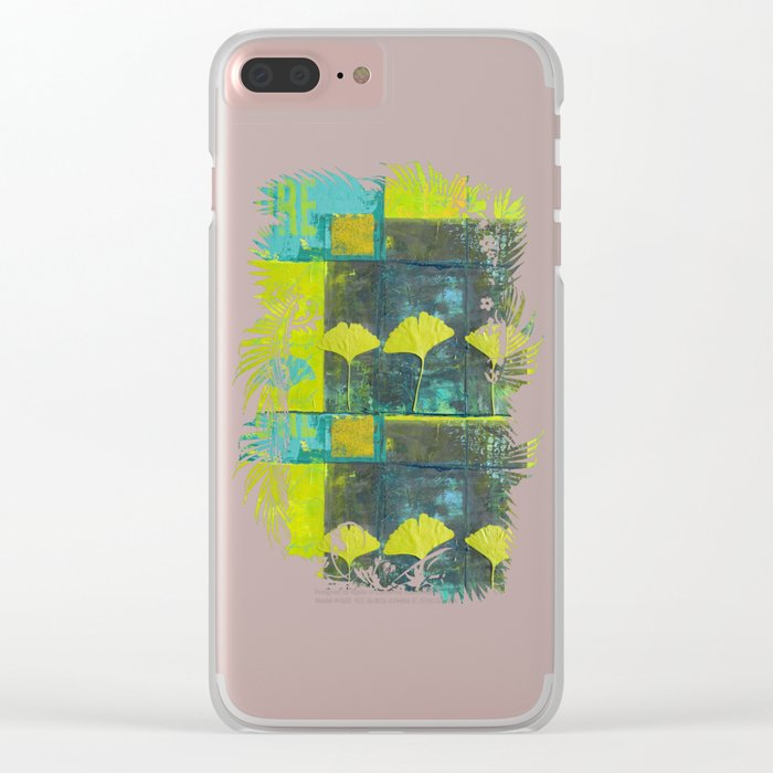 Green nature greenery gingko leaf collge Clear iPhone Case