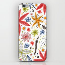 colorful funky floral pattern iPhone Skin