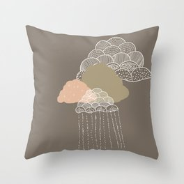 Funny clouds brown Throw Pillow