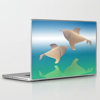 dolphins Laptop & iPad Skins featuring dolphins by Ruud van Koningsbrugge
