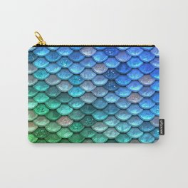 Aqua Teal & Green Shiny Mermaid Glitter Scales Carry-All Pouch