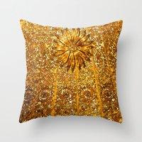 gold glitter Throw Pillows featuring Glitter Gold by Saundra Myles