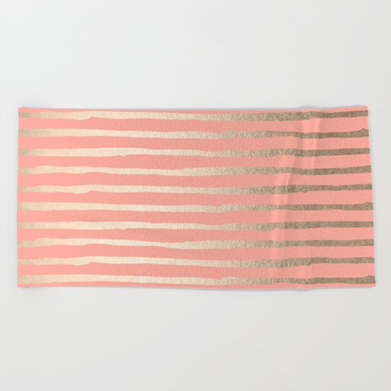 Abstract Stripes Gold Coral Pink Beach Towel