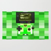warcraft Area & Throw Rugs featuring Gameboy Color Green Creeper by Veylow