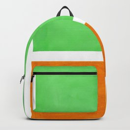 Pastel Mint Green Yellow Ochre Rothko Minimalist Mid Century Abstract Color Field Squares Backpack