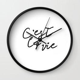 C'est La Vie Digital Print, Printable Wall Art Quote, Typography Print, Black White Wall Wall Clock