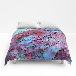 Magenta in turquoise Comforters
