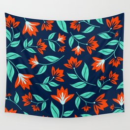 Japanese Floral Print - Red and Navy Blue Wall Tapestry