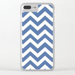 Blue yonder - blue color - Zigzag Chevron Pattern Clear iPhone Case