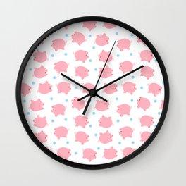 Pig Pattern | Pink Piglet Farm Farmer Wall Clock