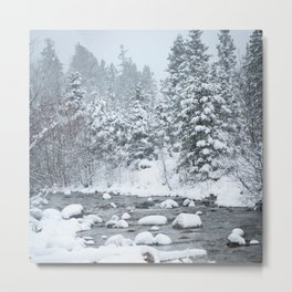 Snowy Mountain River Metal Print