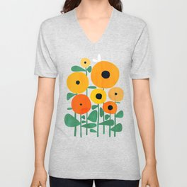 Sunflower and Bee Unisex V-Neck