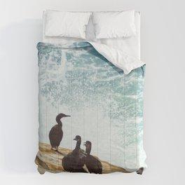Crashing Waves and Cormorants Comforters
