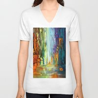 waterfall V-neck T-shirts featuring Waterfall by sophtunes