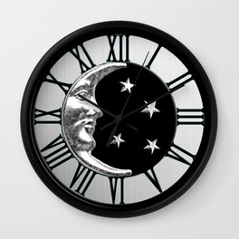 Art Deco Moon and Stars, Black and Silver Wall Clock