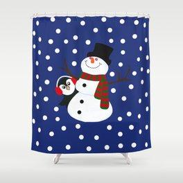 Cute Penguin Snowman Holiday Design Shower Curtain