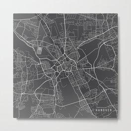 Hanover Map, Germany - Gray Metal Print