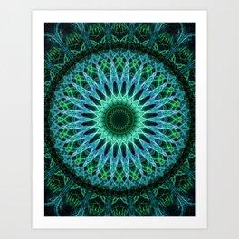 Pretty green and blue mandala Art Print