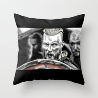 vikings Throw Pillows featuring vikings by Flyens