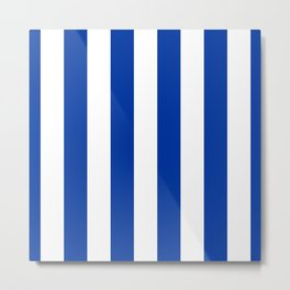 Dark Princess Blue and White Wide Vertical Cabana Tent Stripe Metal Print