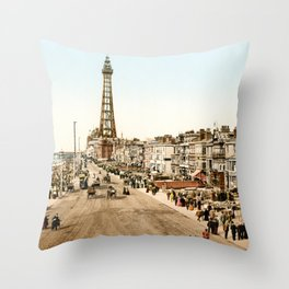 The Promenade at Blackpool, Lancashire, England 1898 Throw Pillow