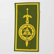 Zelda Shield Triforce Beach Towel