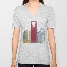 Riyadh skyline poster Unisex V-Neck