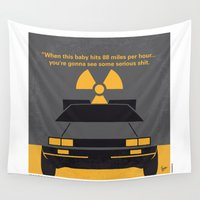 mcfly Wall Tapestries featuring No183 My Back to the Future minimal movie poster by Chungkong